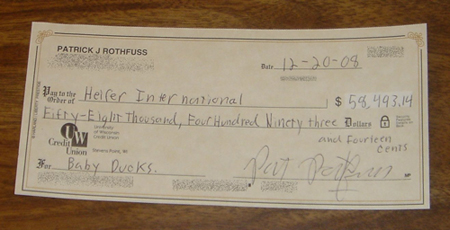 A cheque written by Patrick Rothfuss for Heifer International.