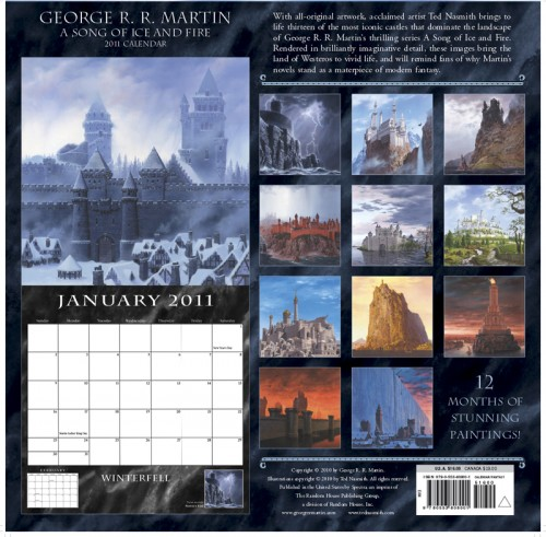 The back of the 2011 A Song of Ice and Fire Calendar