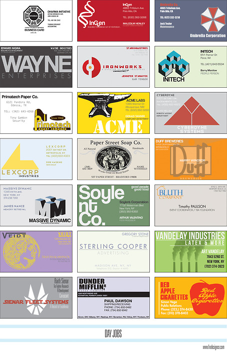 Business Cards for all your favourite fictional companies