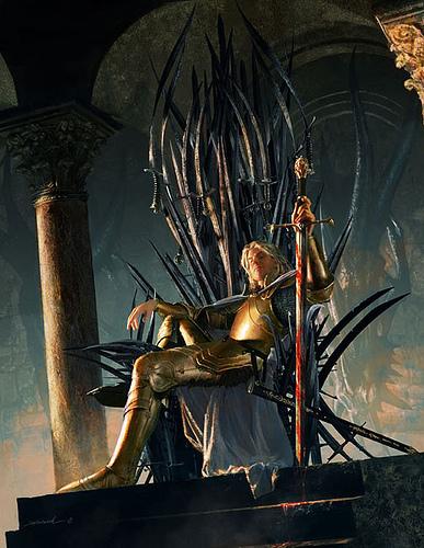 Jamie Lannister sitting on the Iron Throne. Art my Michael Komarck