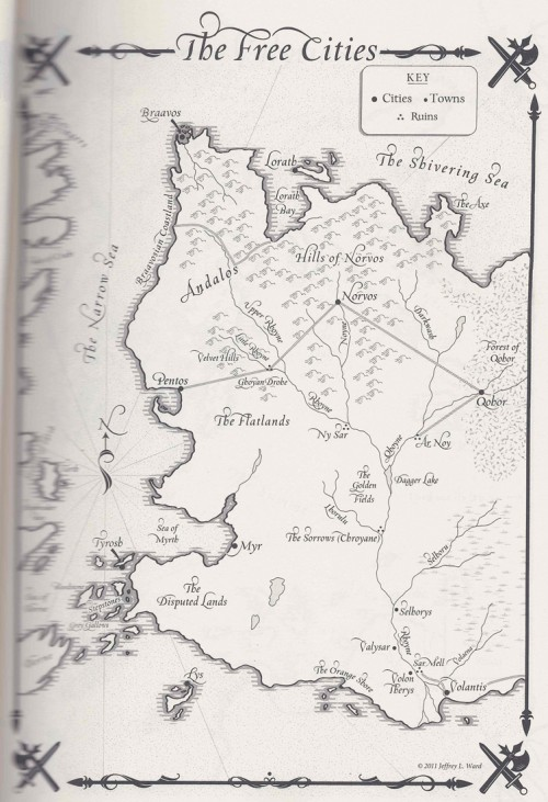 A map of The Free Cities from George R.R. Martin's A SONG OF ICE AND FIRE