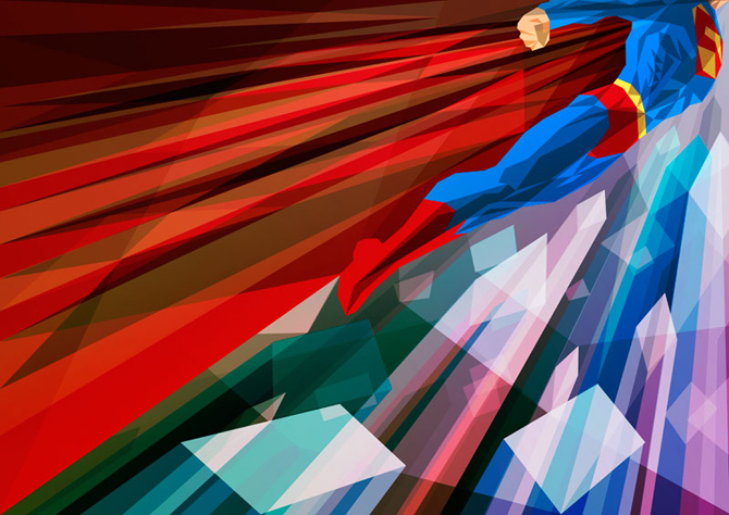 Geometric Superman, art by Liam Brazier