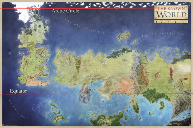 How big is Westeros compared to Earth?