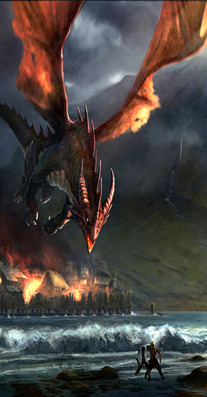 Smaug destroys Esgaroth by Gaius