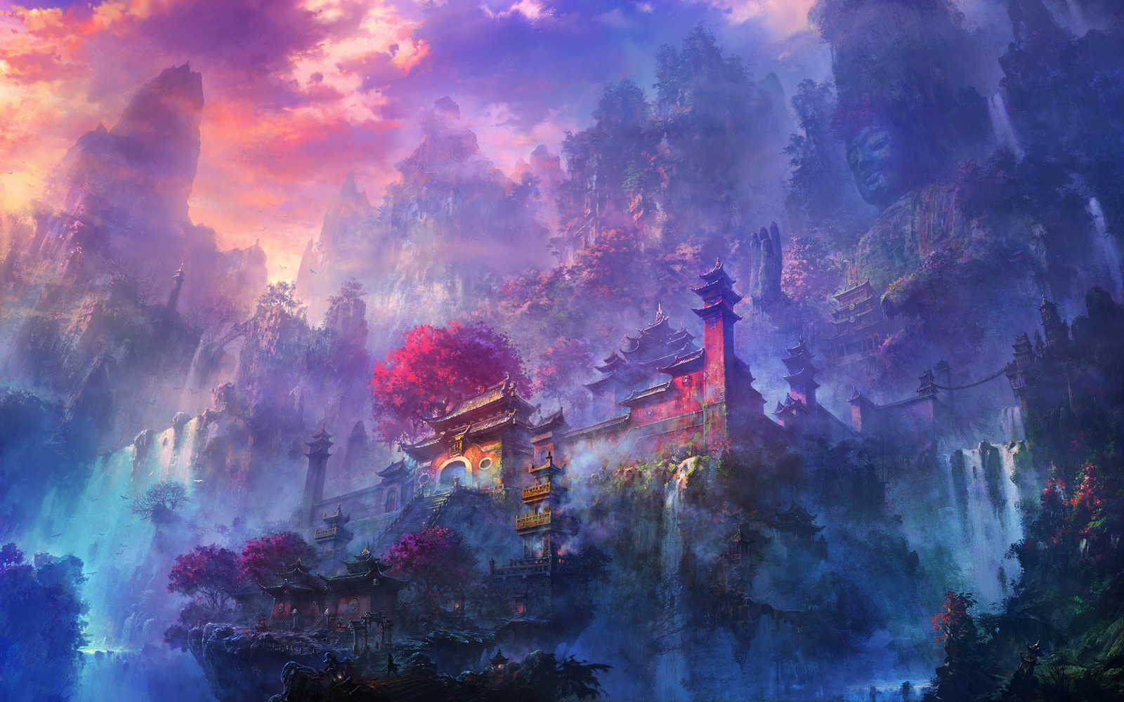 Visit the fascinating fantasy worlds of li shuxing a - Fantasy scenery wallpaper ...