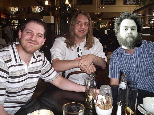 Joe Abercrombie, Scott Lynch and Patrick Rothfuss at lunch!